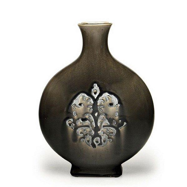 Vaso Decorativo Cerâmica Cinza 36cm