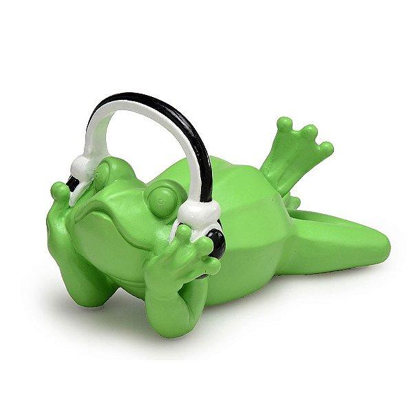 Peça Decorativa Sapo Com Fones De Ouvido