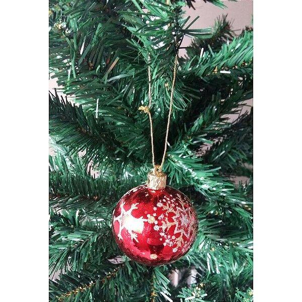 5c4d59c18f Conjunto de Bola de Natal Vermelha com Glitter 6cm 4 peças - Daluel ...