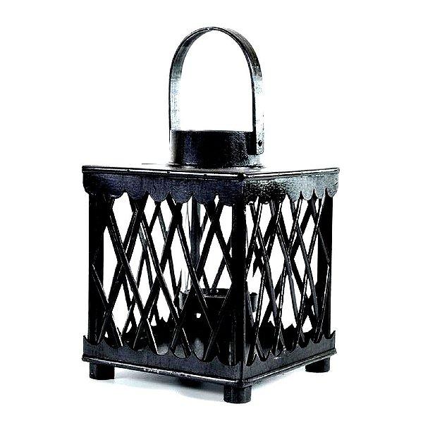 Lanterna Marroquina Quadrada Preta Madeira