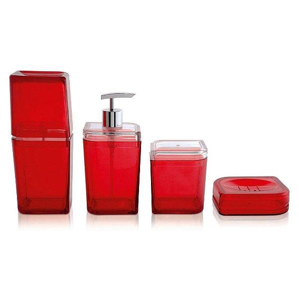 Conjunto Para Banheiro Acrílico Pétala Vermelho 4 Peças Ou