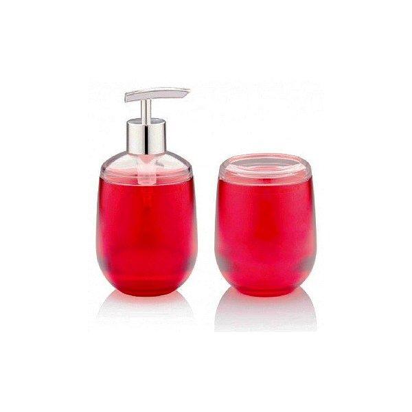 Conjunto Para Banheiro Acrílico Belly Vermelho 2 Peças Ou