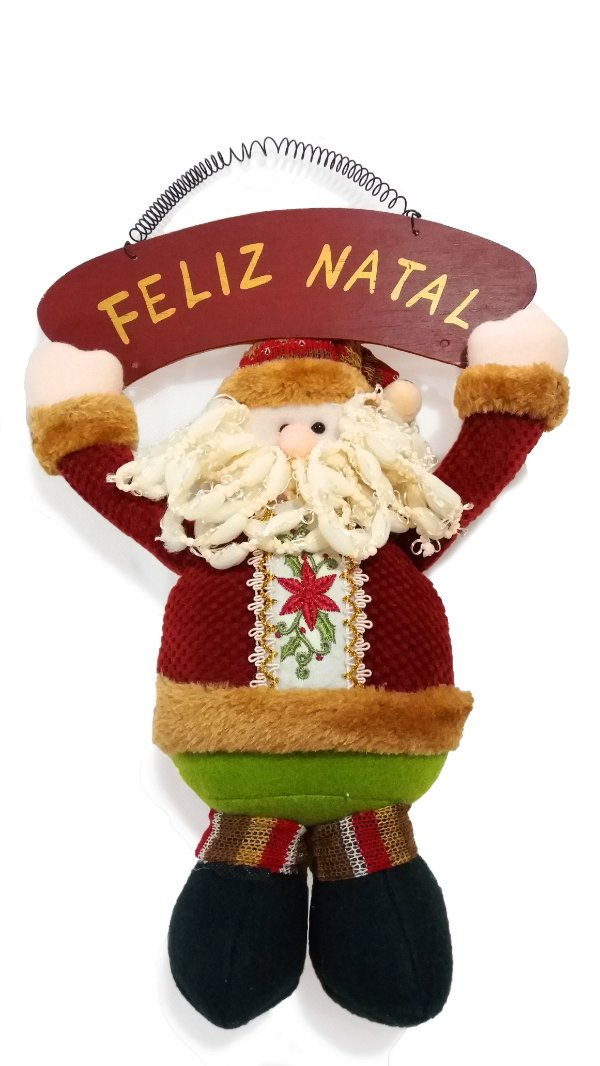 Papai Noel De Porta Com Placa Feliz Natal AV 09