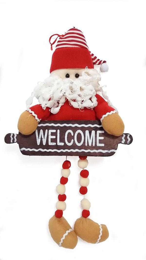 Papai Noel De Porta Com Placa  Welcome Magizi