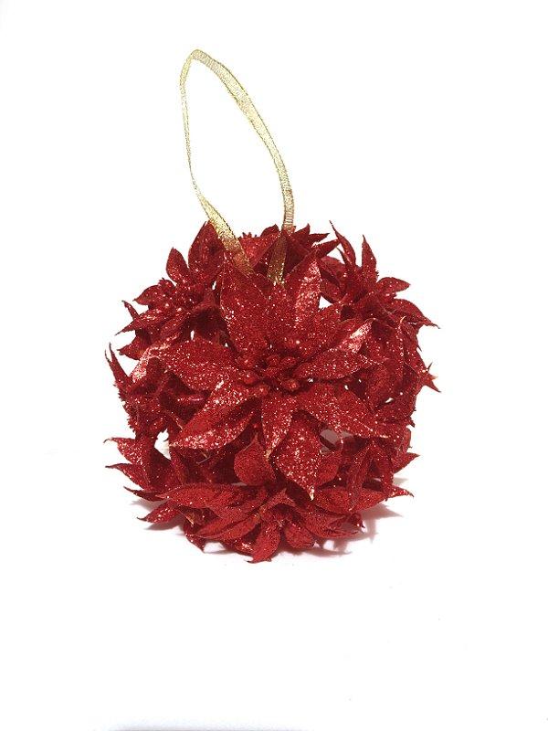 Enfeite De Árvore Bola Flor Bico De Papagaio Vermelho