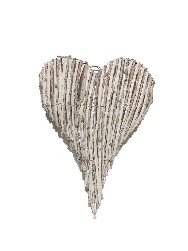Enfeite Para Porta Coração Branco Rústico Pequeno