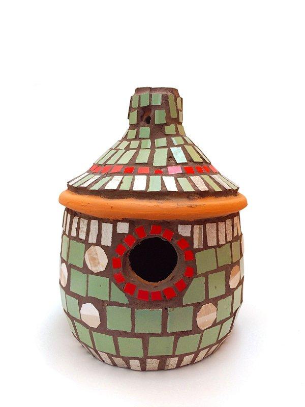 Casinha De Passarinho Cerâmica Telhado Mosaico Verde