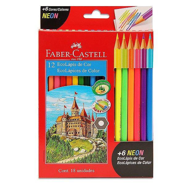 Lápis de Cor Faber-Castell 12 Cores + 6 Cores Neon Sextavado