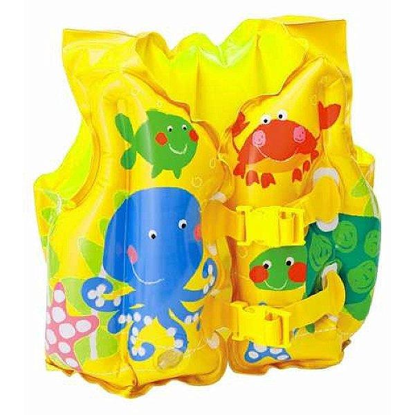 Boia Colete Infantil Inflável Amarelo Peixinhos Intex