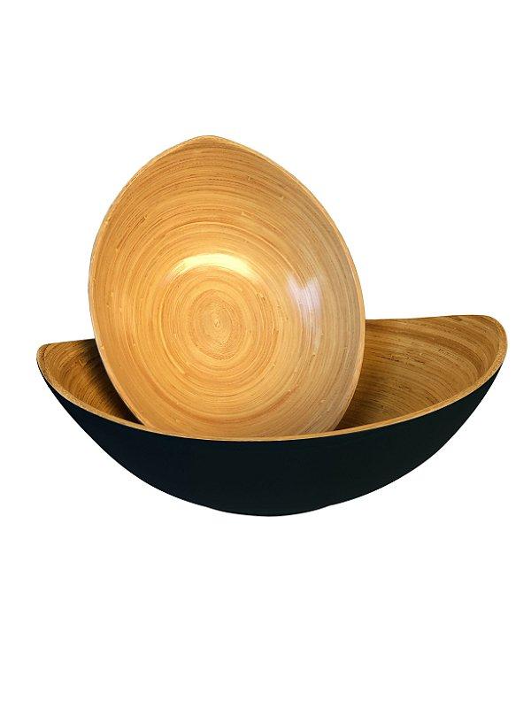 Jogo de Tigela Decorativa Bambu Preto 2 Peças Xilya