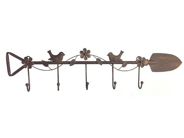 Cabideiro de Metal Pá com Flores e Pássaros Empório das Flores