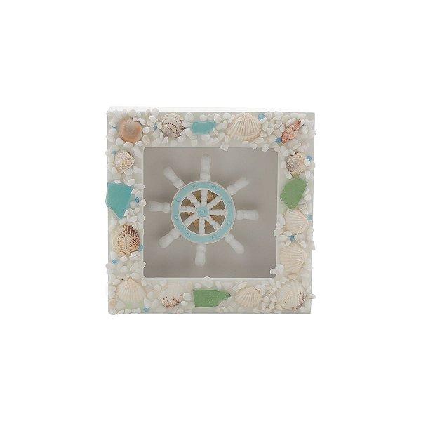 Quadro Decorativo Timão de Madeira com Conchas Prestige Collection
