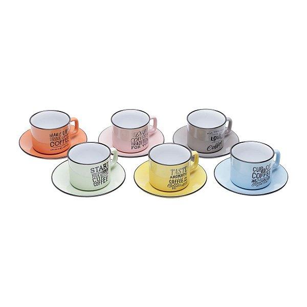Conjunto de Xícaras para Chá Retrô Porcelana Bon Gourmet