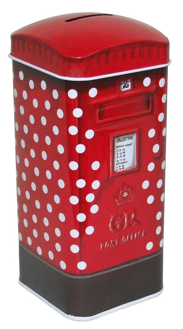 Cofrinho de Metal 17cm Post Office com Bolinhas Zona Livre