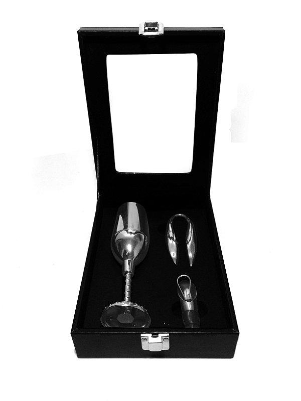 Kit de Acessórios para Vinho com Saca-rolha de Taça Zona Livre