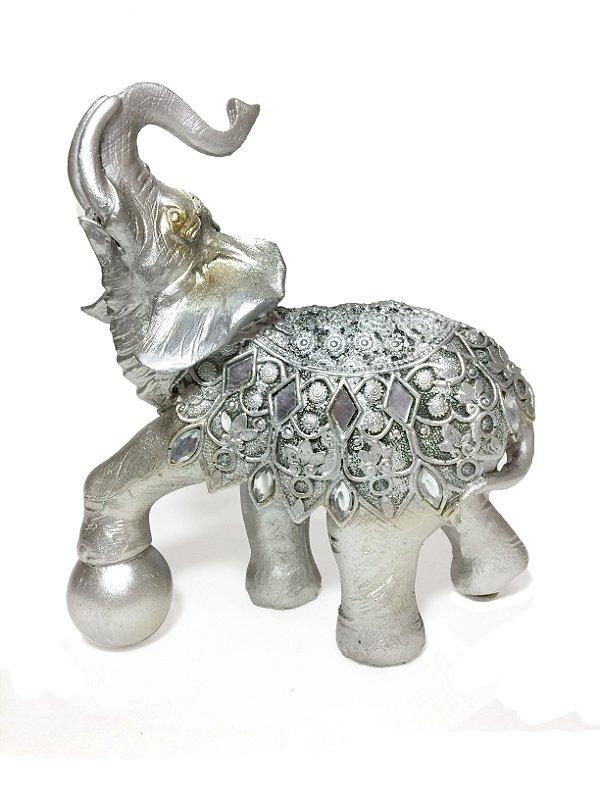 Elefante Decorativo Prata com Espelhos 17cm Zona Livre