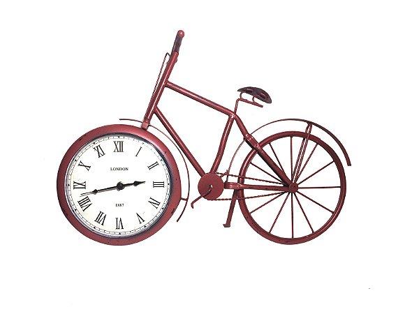 Relógio de Mesa Bicicleta de Metal Vermelha Vintage