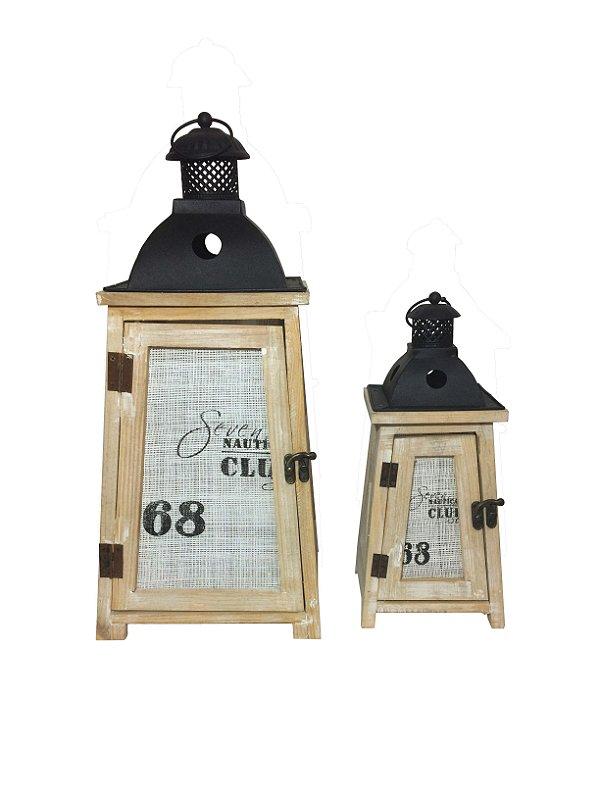 Lanterna Marroquina de Madeira Decorativa Nautical Club
