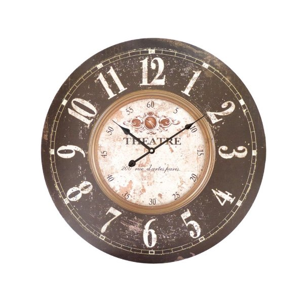 Relógio de Parede Redondo 57cm Madeira Theatre The Home