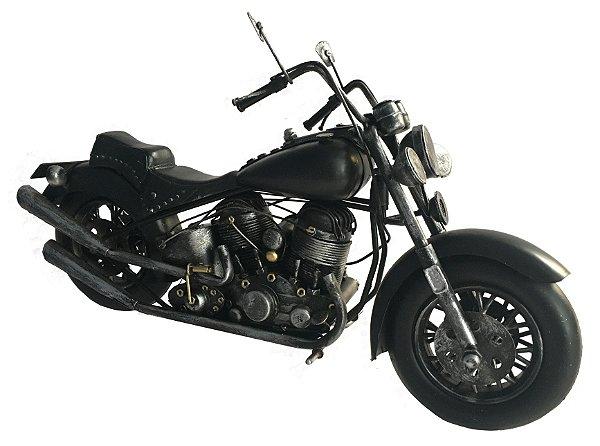 Moto de Metal Decorativa Preta 41cm Avalon