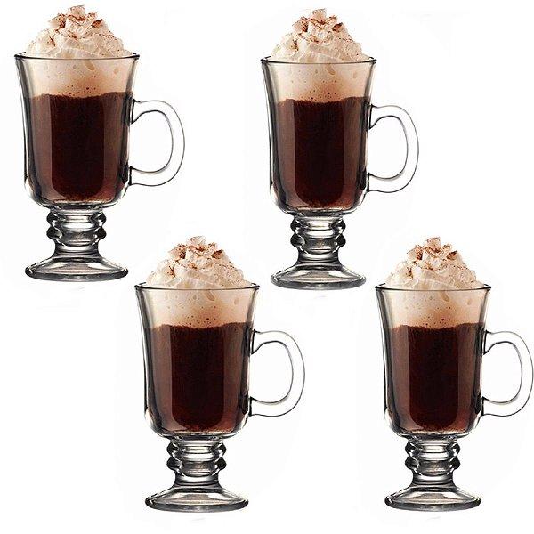 Jogo de Canecas para Cappuccino de Vidro Torino 250ml 4 Peças