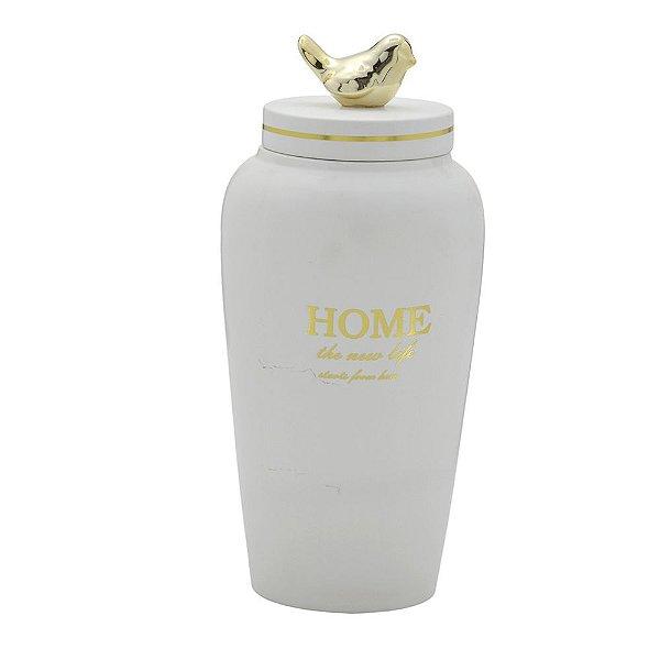 Potiche Pote Decorativo Branco Tampa de Pássaro Dourado Grande