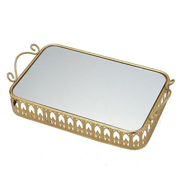 Bandeja Decorativa Dourada com Espelho Concepts Life