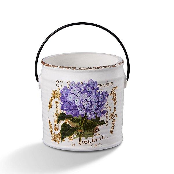 Cachepot de Cerâmica Flor Roxa com Alça 18cm Bencafil