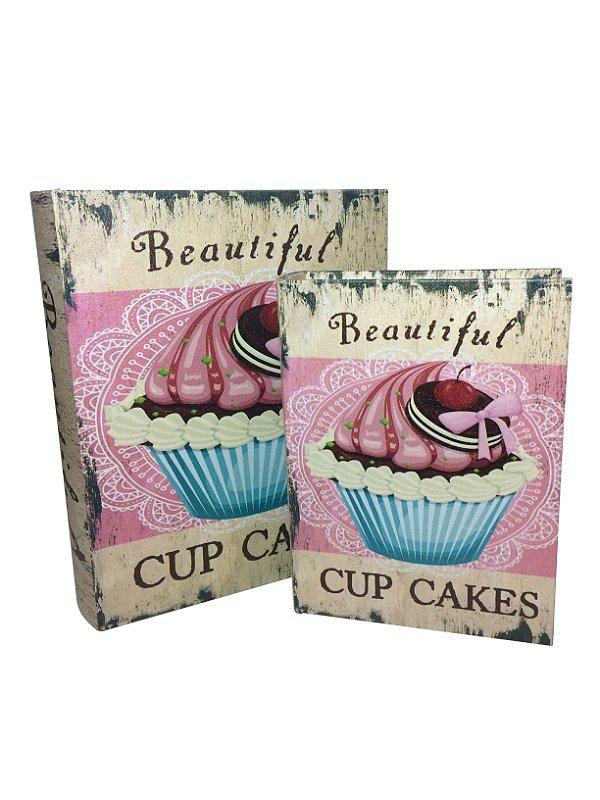 Jogos de Caixas Livro de Madeira Cupcake Mart