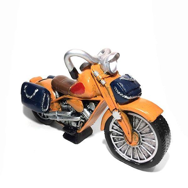 Cofre Moto Laranja 15cm de Resina