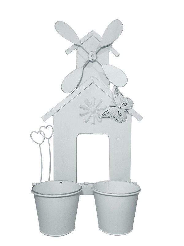 Floreira de Metal Branca para 2 Vasos Nataluz