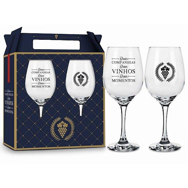 Conjunto de Taças de Vinho Bons Vinhos Bons Amigos Brasfoot
