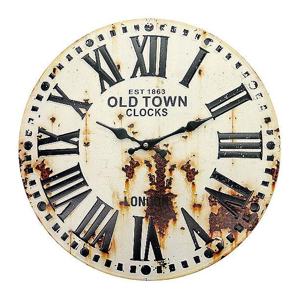 Relógio de Parede Vintage de Metal Redondo Branco The Home