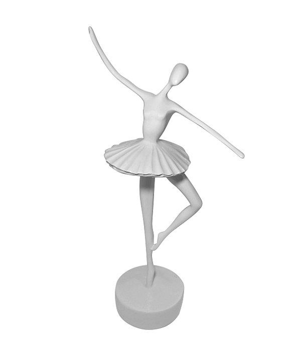Bailarina Branca de Resina 35cm DeMelo