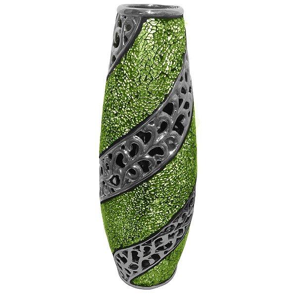 Vaso Decorativo Cerâmica Verde e Prata de 51cm