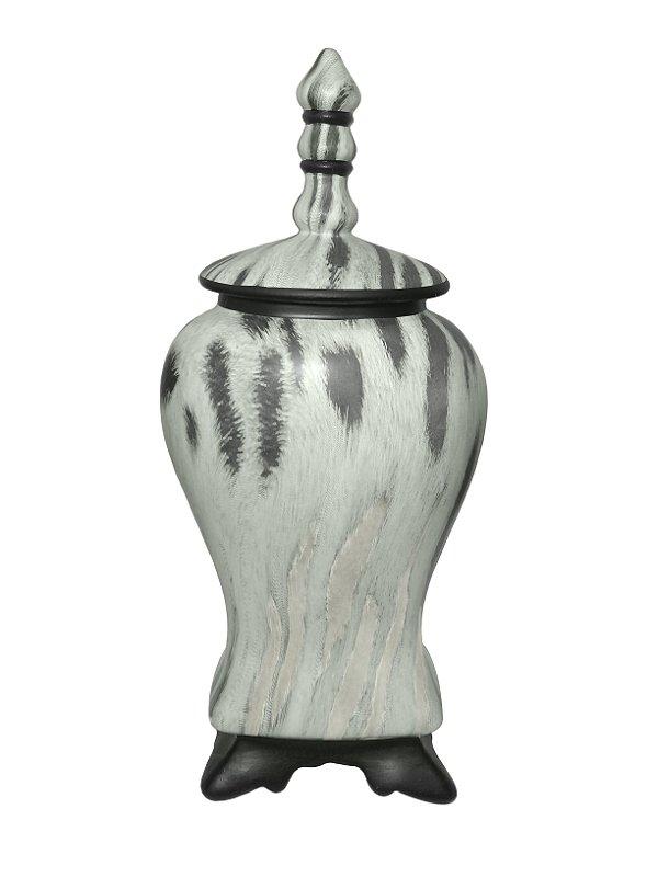 Vaso Decorativo Branco e Preto com Tampa