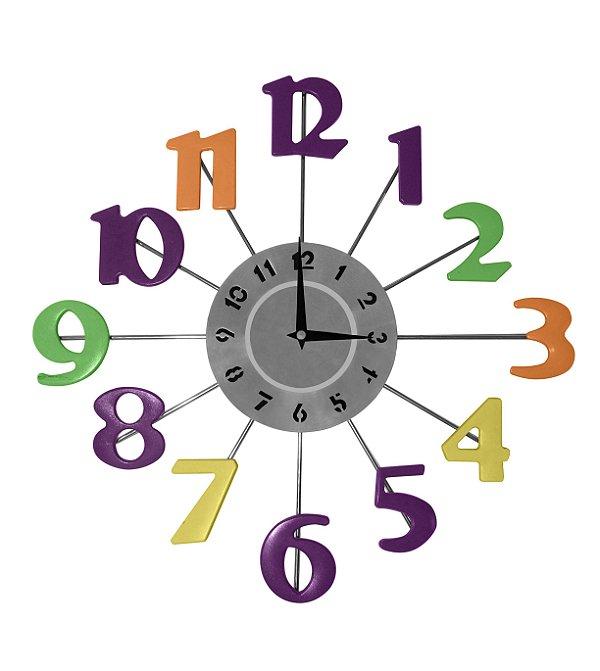 Relógio de Parede Números Coloridos Mabruk