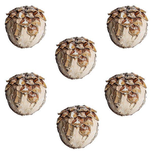 Bola de Natal Pinha Rústica 12cm 6 Unidades