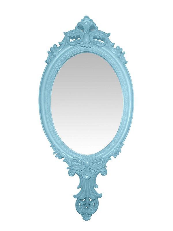 Espelho Vintage Moldura Azul Claro 60cm Italy Style