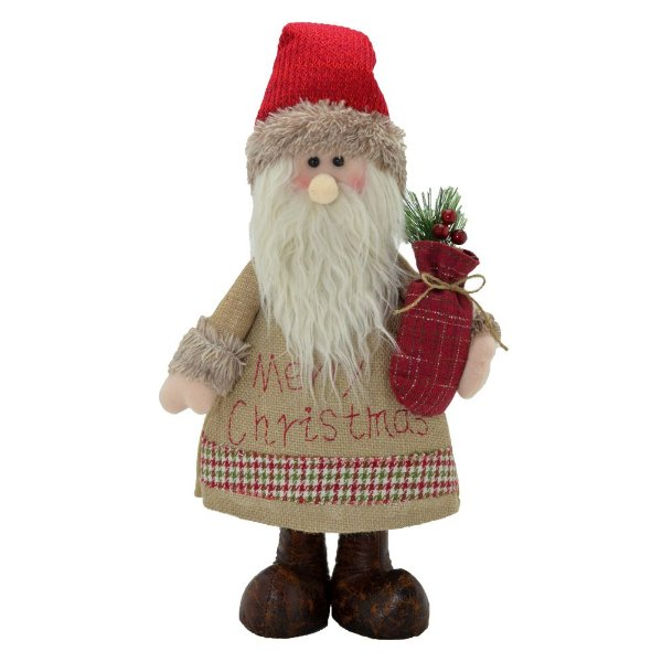 Papai Noel Decorativo Rústico Merry Christmas Em Pé 40cm