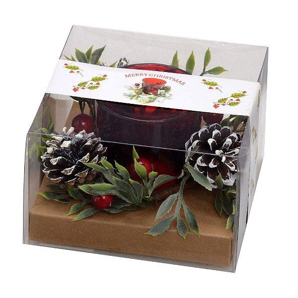 Castiçal Natalino para Presente Pinhas e Vela Santini Christmas