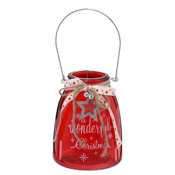 Castiçal Lanterna Natalina Vermelha