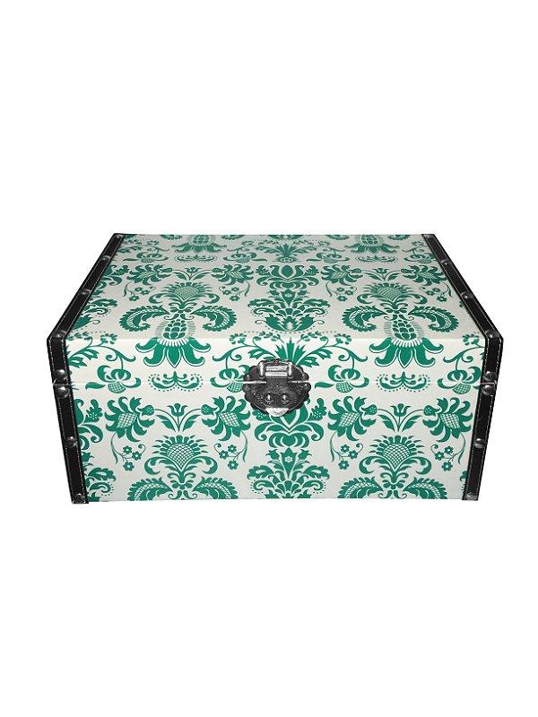 Caixa Baú de Madeira Verde Grande Buba