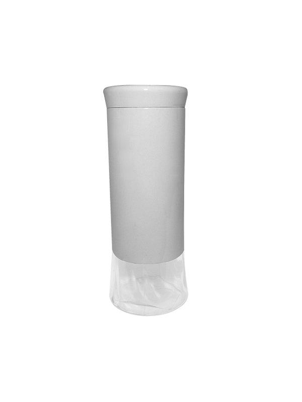 Porta Condimentos Metal e Vidro Branco