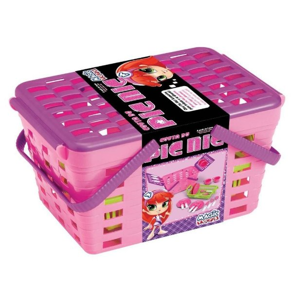 Cesta de Pic Nic Rosa Magic Toys