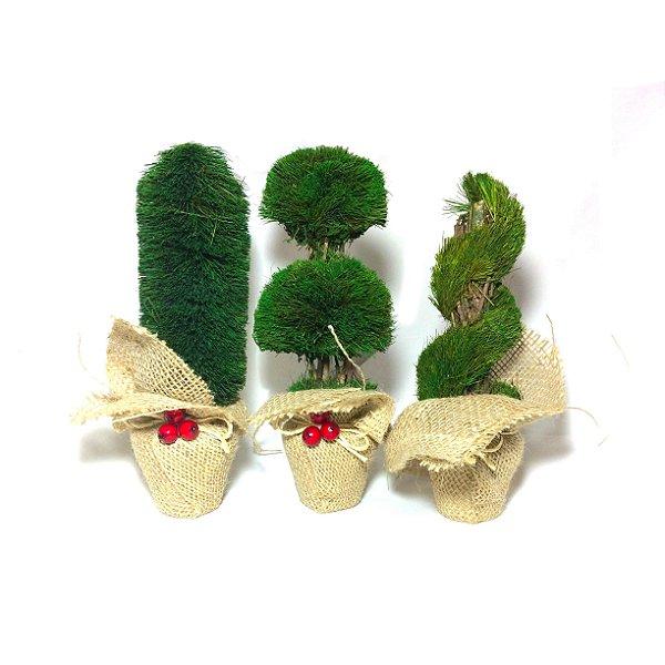 Trio de Árvores Natalinas para Mesa 24cm 3 Peças