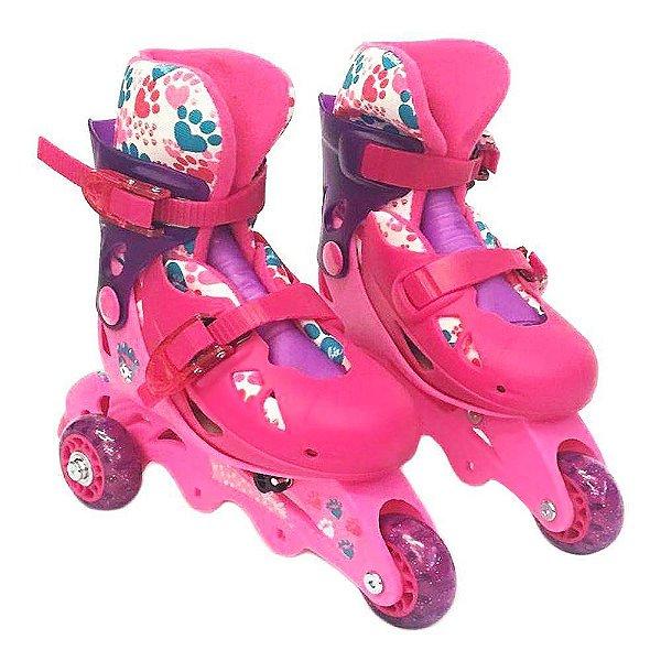 Patins Barbie 3 Rodas Ajustável 29-32 com Acessórios Fun