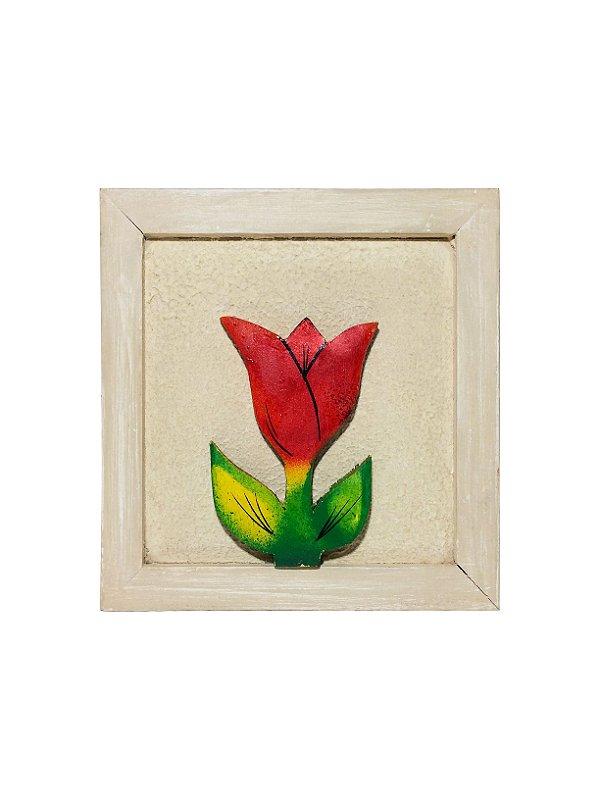 Quadrinho de Madeira com Tulipa 18cm