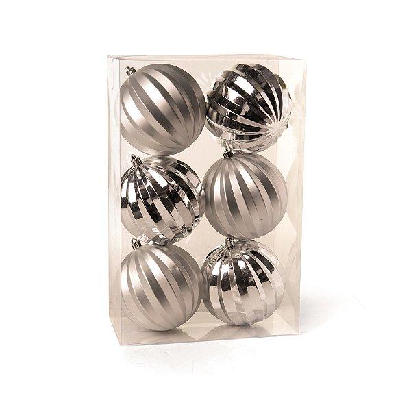 Conjunto de Bolas de Natal Gomos Prata 10cm 6 peças Cromus