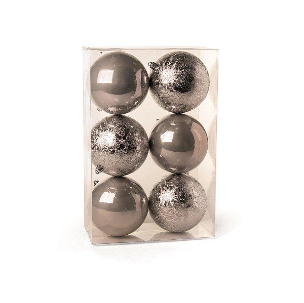 Conjunto de Bolas de Natal Cromus Chumbo 8cm Perolada e Craquelada 6 unidades